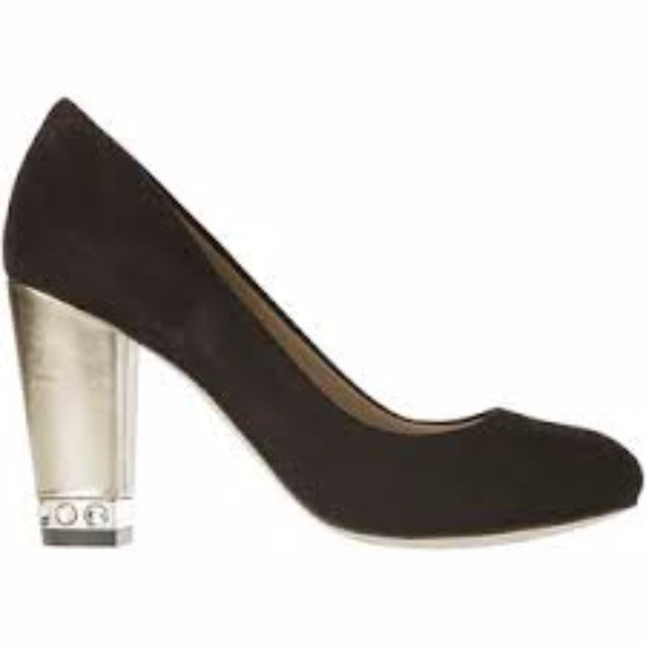 Ann Taylor Black & Gold Gem Block Heel Pumps